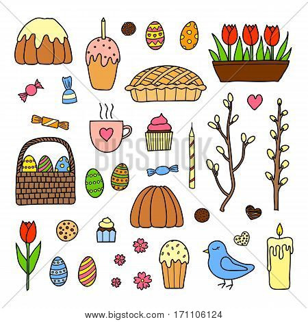 Hand drawn collection of traditional easter items including colored eggs, tulips, glazed cake, candle, bird and pussy willow isolated on white background.