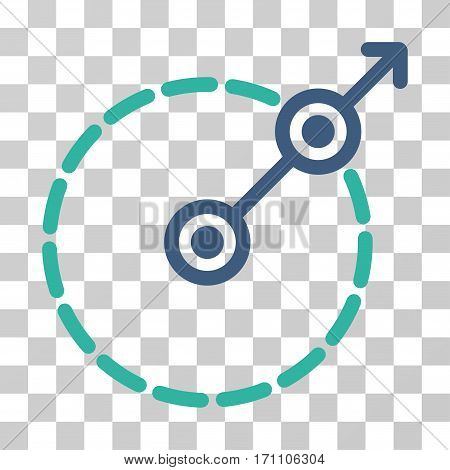 Round Area Exit icon. Vector illustration style is flat iconic bicolor symbol cobalt and cyan colors transparent background. Designed for web and software interfaces.