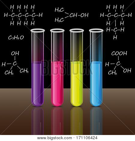 Test tubes set with liquid and gas in the laboratory for tests and experiments in science and education. Black background with formulas. Brown bottom. Vector.