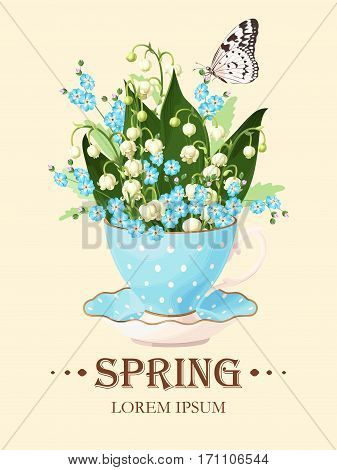 Vector greeting card with lilies of the valley in vintage teacup