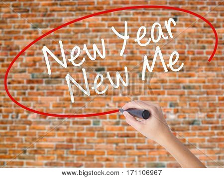 Woman Hand Writing New Year New Me With Black Marker On Visual Screen