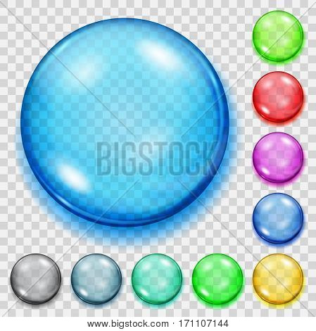 Set Of Transparent Colored Spheres With Shadows