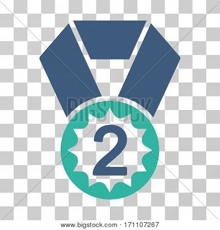 Second Place icon. Vector illustration style is flat iconic bicolor symbol cobalt and cyan colors transparent background. Designed for web and software interfaces.