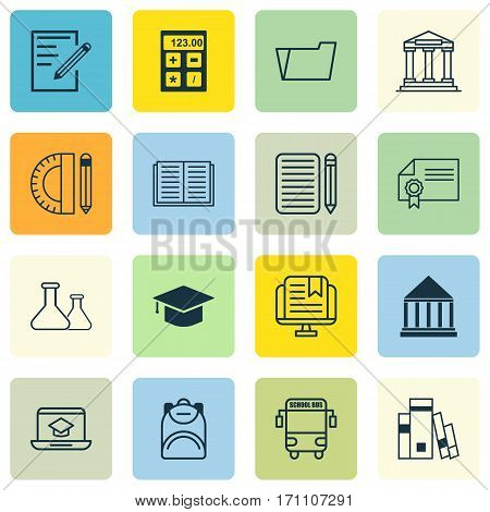 Set Of 16 Education Icons. Includes Graduation, Document Case, Chemical And Other Symbols. Beautiful Design Elements.