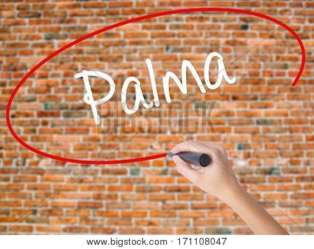 Woman Hand Writing Palma  With Black Marker On Visual Screen