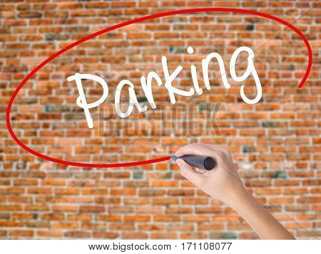 Woman Hand Writing Parking With Black Marker On Visual Screen