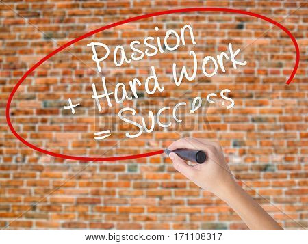 Woman Hand Writing Passion + Hard Work = Success With Black Marker On Visual Screen