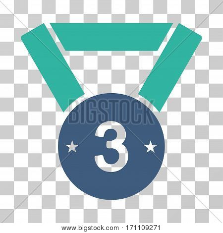 Third Medal icon. Vector illustration style is flat iconic bicolor symbol cobalt and cyan colors transparent background. Designed for web and software interfaces.
