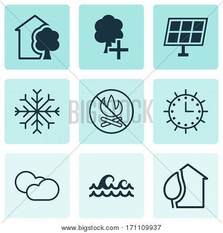 Set Of 9 Eco-Friendly Icons. Includes Ocean Wave, Cloud Cumulus, Sun Power And Other Symbols. Beautiful Design Elements.