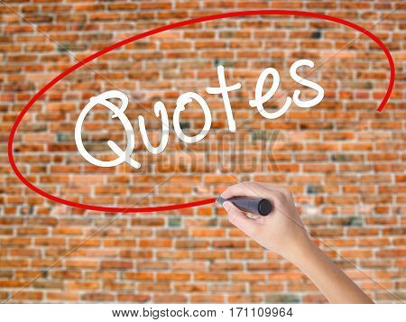 Woman Hand Writing Quotes  With Black Marker On Visual Screen