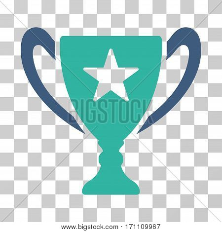 Trophy Cup icon. Vector illustration style is flat iconic bicolor symbol cobalt and cyan colors transparent background. Designed for web and software interfaces.