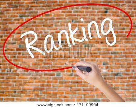 Woman Hand Writing Ranking With Black Marker On Visual Screen