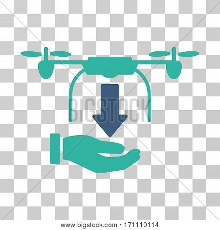 Unload Drone Hand icon. Vector illustration style is flat iconic bicolor symbol cobalt and cyan colors transparent background. Designed for web and software interfaces.