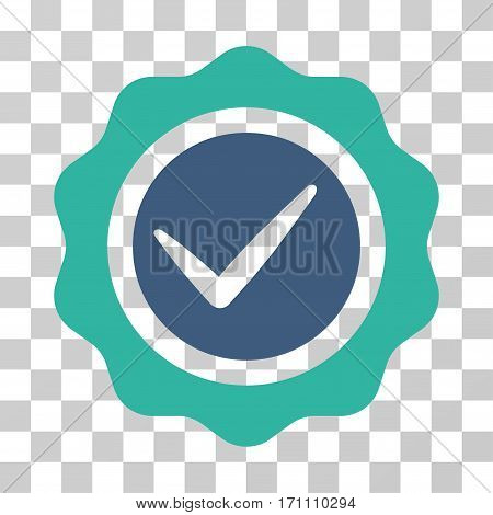 Valid Seal icon. Vector illustration style is flat iconic bicolor symbol cobalt and cyan colors transparent background. Designed for web and software interfaces.