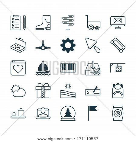 Set Of 25 Universal Editable Icons. Can Be Used For Web, Mobile And App Design. Includes Elements Such As Putty, Clear Climate, Fertilizer And More.