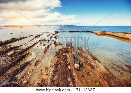 Fantastic view of the nature reserve Monte Cofano. Dramatic scene. Location cape San Vito. Sicilia, Italy, Europe. Mediterranean and Tyrrhenian sea.