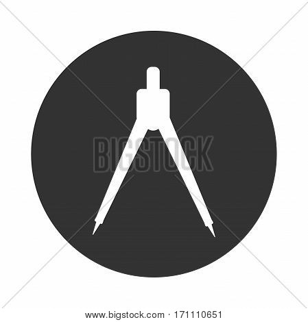 Engineering compasses icon Geometric sign black and white