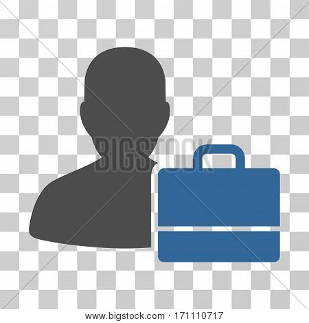 Accounter icon. Vector illustration style is flat iconic bicolor symbol cobalt and gray colors transparent background. Designed for web and software interfaces.