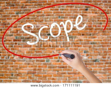 Woman Hand Writing Scope With Black Marker On Visual Screen