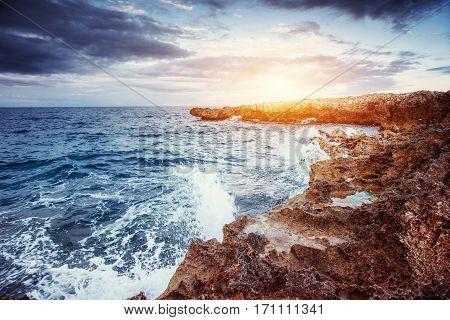 Spring panorama of sea coast city Trapany. Sicily Italy Europe