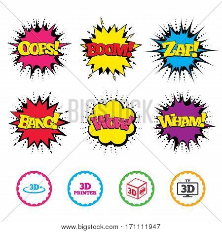 Comic Wow, Oops, Boom and Wham sound effects. 3d technology icons. Printer, rotation arrow sign symbols. Print cube. Zap speech bubbles in pop art. Vector