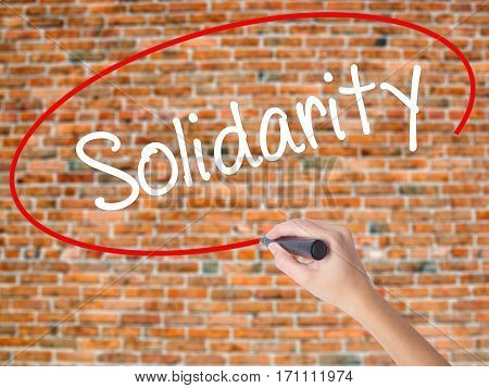 Woman Hand Writing Solidarity  With Black Marker On Visual Screen
