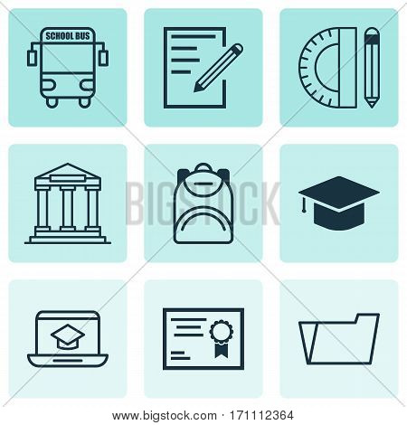 Set Of 9 School Icons. Includes Document Case, Education Tools, Paper And Other Symbols. Beautiful Design Elements.