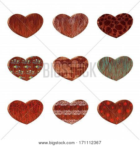 Set vector cartoon wood heart.Design elements for Valentine's day.