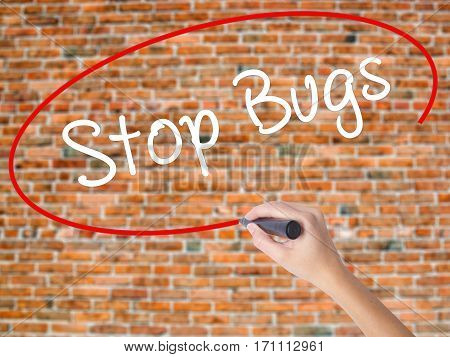 Woman Hand Writing Stop Bugs With Black Marker On Visual Screen