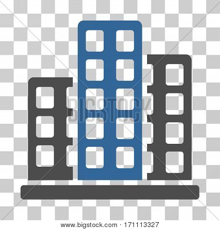 City icon. Vector illustration style is flat iconic bicolor symbol cobalt and gray colors transparent background. Designed for web and software interfaces.