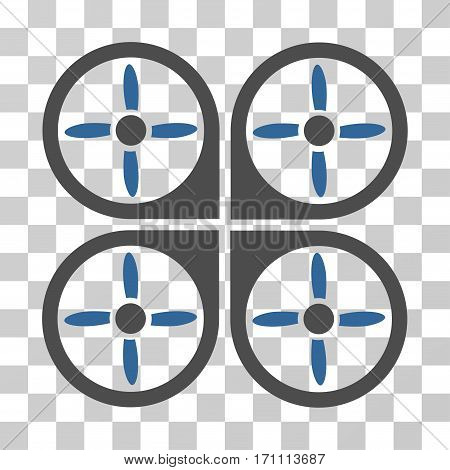 Copter icon. Vector illustration style is flat iconic bicolor symbol cobalt and gray colors transparent background. Designed for web and software interfaces.