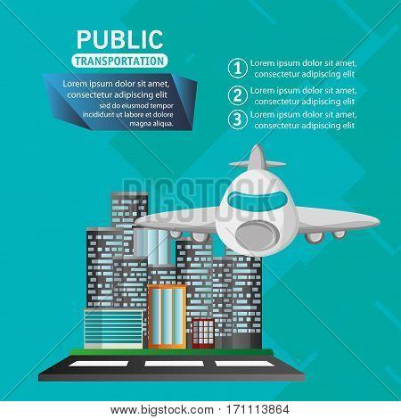 airplane passenger flying urban background vector illustration eps 10