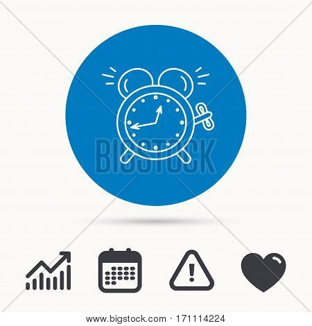 Alarm clock icon. Mechanical retro time sign. Watch with bell symbol. Calendar, attention sign and growth chart. Button with web icon. Vector