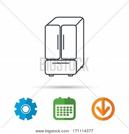 American fridge icon. Refrigerator sign. Calendar, cogwheel and download arrow signs. Colored flat web icons. Vector