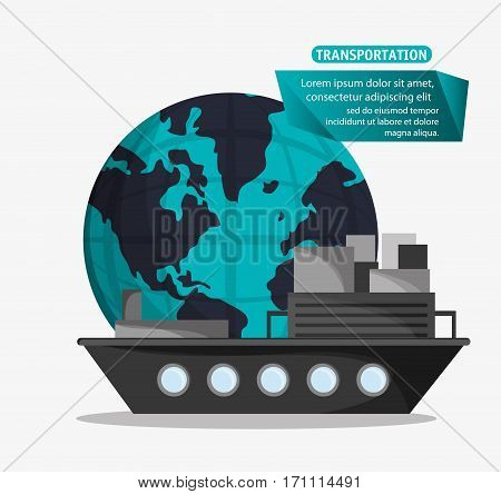 ship cargo container transport worldwide vector illustration eps 10