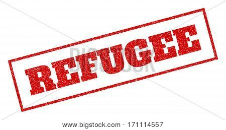 Red rubber seal stamp with Refugee text. Vector message inside rectangular frame. Grunge design and scratched texture for watermark labels. Inclined emblem.
