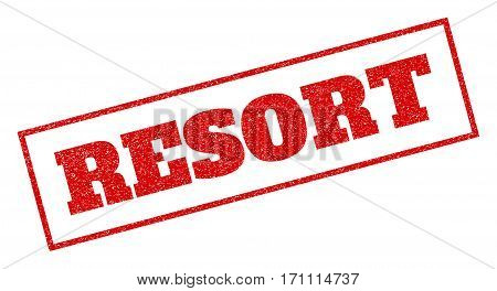 Red rubber seal stamp with Resort text. Vector caption inside rectangular frame. Grunge design and unclean texture for watermark labels. Inclined sticker.