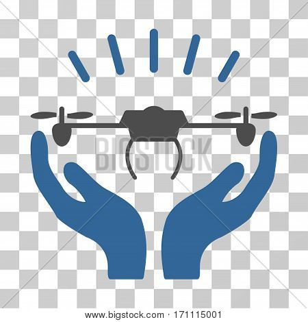 Drone Launch Hands icon. Vector illustration style is flat iconic bicolor symbol cobalt and gray colors transparent background. Designed for web and software interfaces.