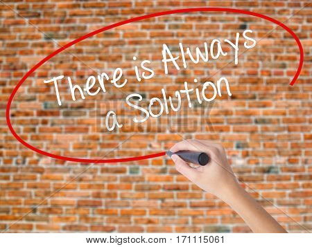 Woman Hand Writing There Is Always A Solution With Black Marker On Visual Screen