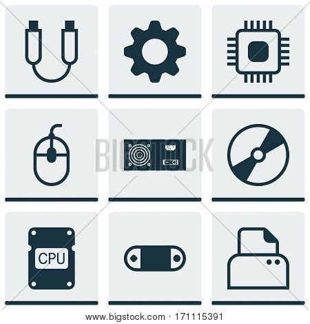 Set Of 9 Computer Hardware Icons. Includes File Scanner, Settings, Portable Memory And Other Symbols. Beautiful Design Elements.