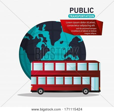 red bus two storied tourism public transport vector illustration eps 10