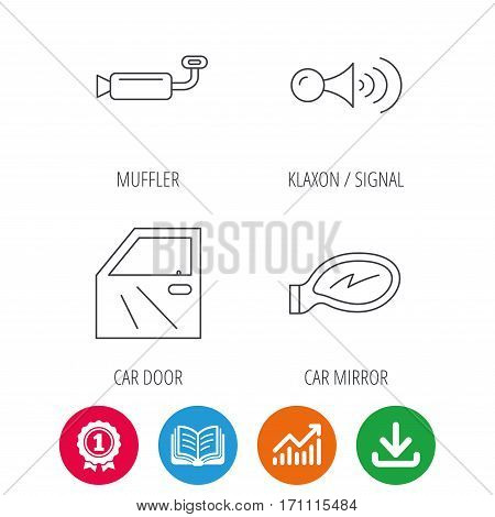 Car door, muffler and klaxon signal icons. Car mirror linear sign. Award medal, growth chart and opened book web icons. Download arrow. Vector