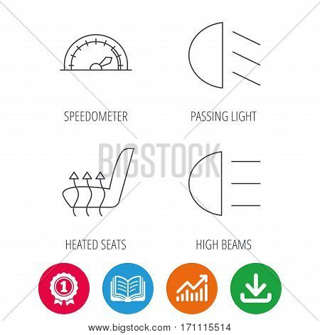 Speedometer, passing fog lights and heated seat icons. High beams linear sign. Award medal, growth chart and opened book web icons. Download arrow. Vector