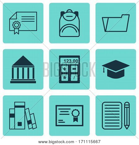 Set Of 9 Education Icons. Includes Document Case, Certificate, Haversack And Other Symbols. Beautiful Design Elements.