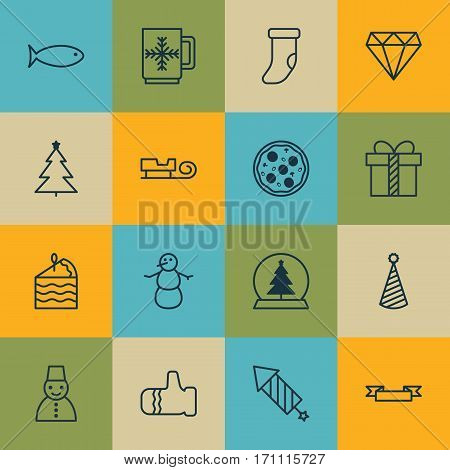 Set Of 16 New Year Icons. Includes Mitten, Pizza Meal, Fishing And Other Symbols. Beautiful Design Elements.