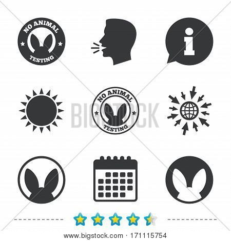 No animals testing icons. Non-human experiments signs symbols. Information, go to web and calendar icons. Sun and loud speak symbol. Vector