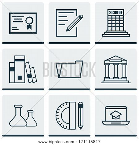 Set Of 9 School Icons. Includes College, Education Tools, Paper And Other Symbols. Beautiful Design Elements.