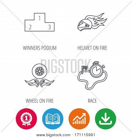 Winner podium, race timer and wheel on fire icons. Motorcycle helmet on fire linear sign. Award medal, growth chart and opened book web icons. Download arrow. Vector