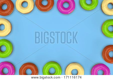 Frame of colorful donuts on blue background. 3d rendering