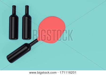 Three black wine bottles on blue-green background with copy space. 3d rendering